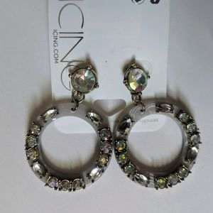 NWT Circle Gemstone Statement Drop Earrings